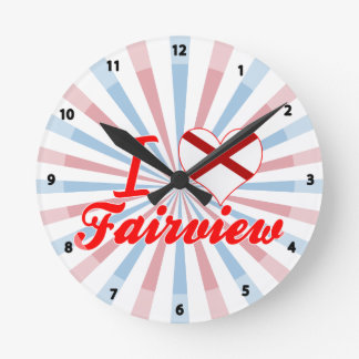 I Love Fairview, Alabama Round Wall Clock