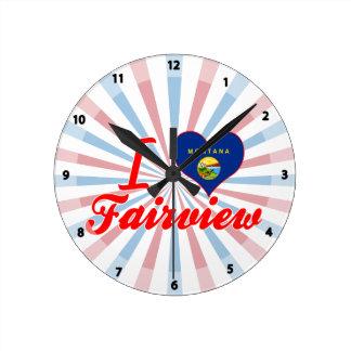 I Love Fairview, Montana Wall Clocks