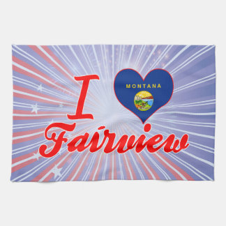 I Love Fairview, Montana Hand Towels