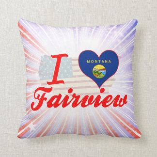 I Love Fairview, Montana Throw Pillows