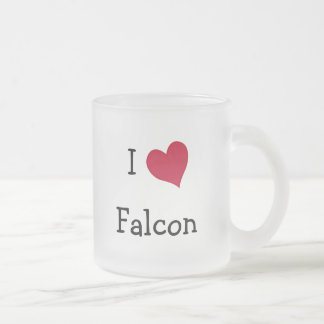 I Love Falcon Frosted Glass Coffee Mug