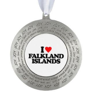 I LOVE FALKLAND ISLANDS ROUND PEWTER ORNAMENT