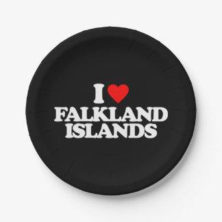 I LOVE FALKLAND ISLANDS PAPER PLATE