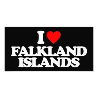 I LOVE FALKLAND ISLANDS PERSONALIZED PHOTO CARD
