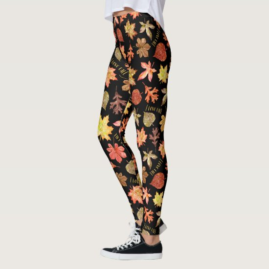 I love fall autumn leaves and text pattern black leggings