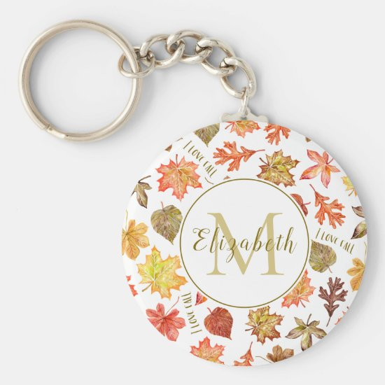 """""""I love fall"""" colorful autumn leaves personalized Keychain"""