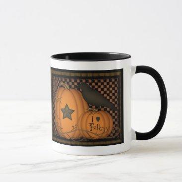 Halloween Themed I love Fall Pumpkin Crow Mug