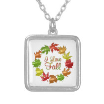 I Love Fall Silver Plated Necklace