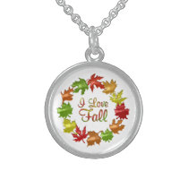 I Love Fall Sterling Silver Necklace
