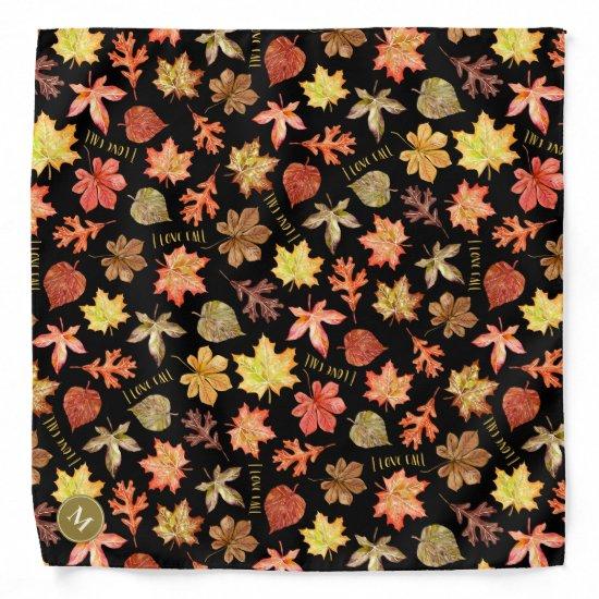 I love fall typography w colorful autumn leaves bandana