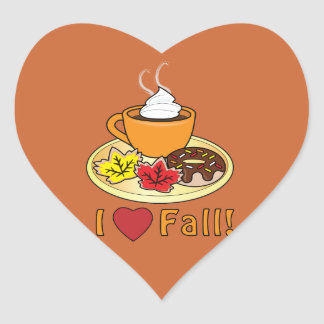 I Love Fall with Coffee and Cookies Heart Sticker