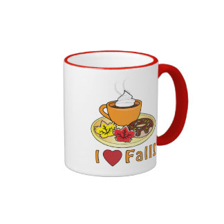 I Love Fall with Coffee and Cookies Ringer Coffee Mug