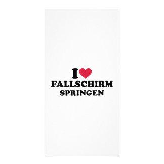 I love Fallschirmspringen Personalized Photo Card