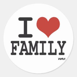 I love family classic round sticker
