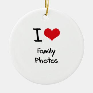 I Love Family Photos Double-Sided Ceramic Round Christmas Ornament
