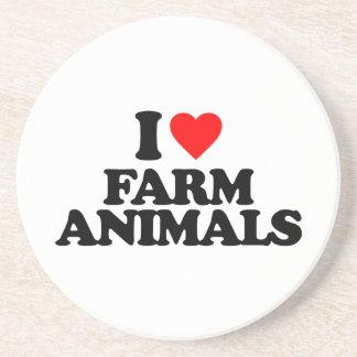 I LOVE FARM ANIMALS BEVERAGE COASTER
