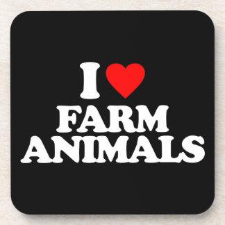 I LOVE FARM ANIMALS BEVERAGE COASTERS