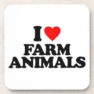 I LOVE FARM ANIMALS DRINK COASTER
