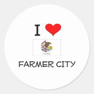 I Love FARMER CITY Illinois Round Stickers