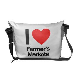 i love farmer's markets messenger bags