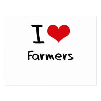 I Love Farmers Postcard