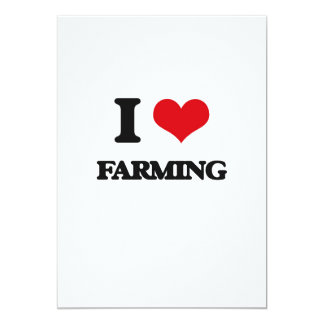 "I love Farming 5"" X 7"" Invitation Card"
