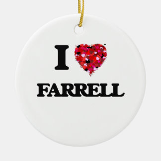I Love Farrell Double-Sided Ceramic Round Christmas Ornament