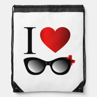 I love fashion eye wear drawstring backpack