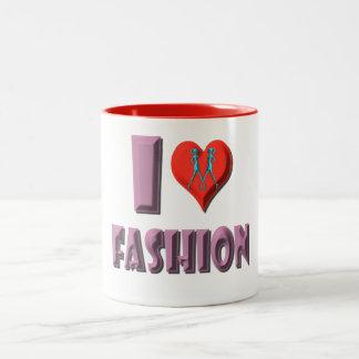I Love Fashion Two-Tone Coffee Mug