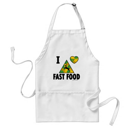 I LOVE FAST FOOD T-SHIRTS AND GIFTS APRONS
