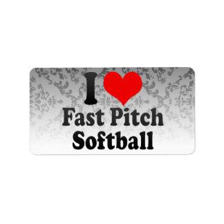 I love Fast Pitch Softball Labels