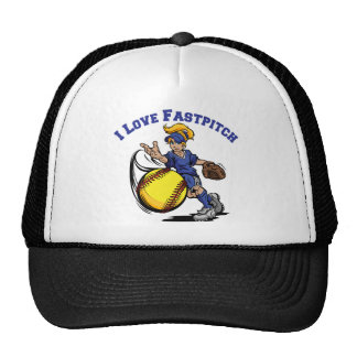 I Love Fastpitch, blue Trucker Hat