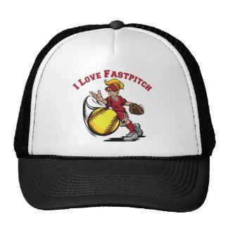 I Love Fastpitch, red Trucker Hat
