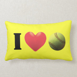 I Love Fastpitch SoftBall Bright Yellow Lumbar Pillow