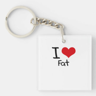 I Love Fat Single-Sided Square Acrylic Keychain