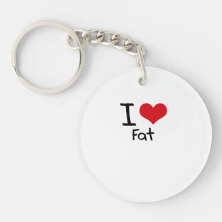 I Love Fat Single-Sided Round Acrylic Keychain