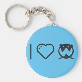 I Love Fat Owls Basic Round Button Keychain