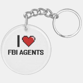 I love Fbi Agents Double-Sided Round Acrylic Keychain