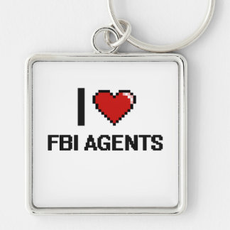 I love Fbi Agents Silver-Colored Square Keychain