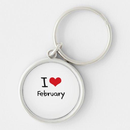 I Love February Keychain