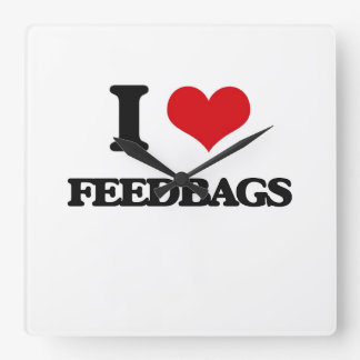 I love Feedbags Square Wall Clock