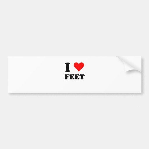I Love Feet Car Bumper Sticker