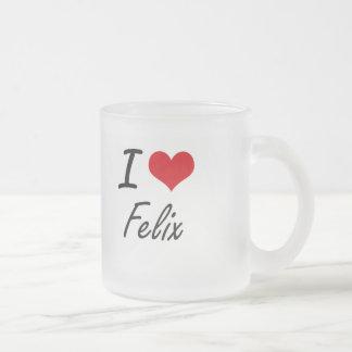 I Love Felix 10 Oz Frosted Glass Coffee Mug