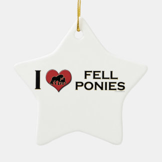 "I Love Fell Ponies:  ""I Heart Fell Ponies"" Double-Sided Star Ceramic Christmas Ornament"