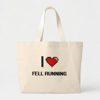 I Love Fell Running Digital Retro Design Jumbo Tote Bag