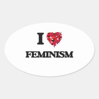 I Love Feminism Oval Sticker
