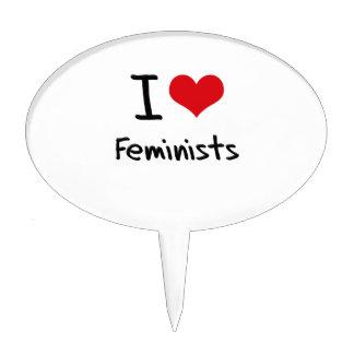 I Love Feminists Cake Pick