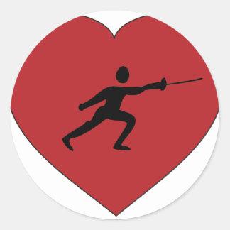 I Love Fencing Classic Round Sticker