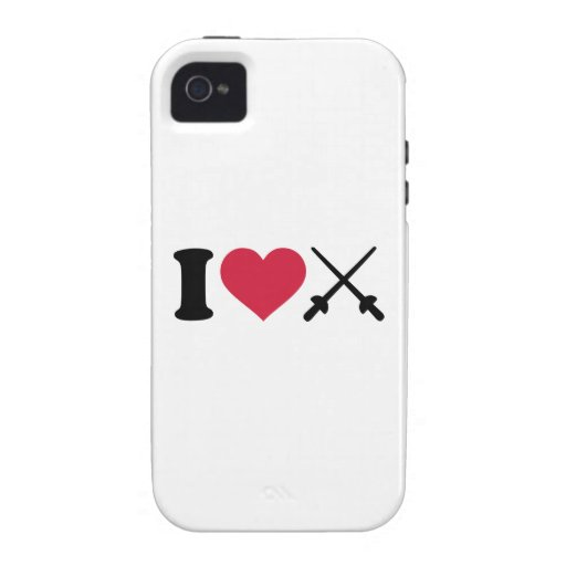I love Fencing crossed epee Case-Mate iPhone 4 Cover