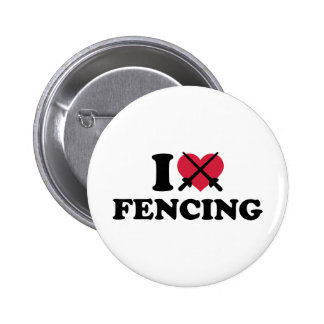 I love Fencing epee Pinback Buttons
